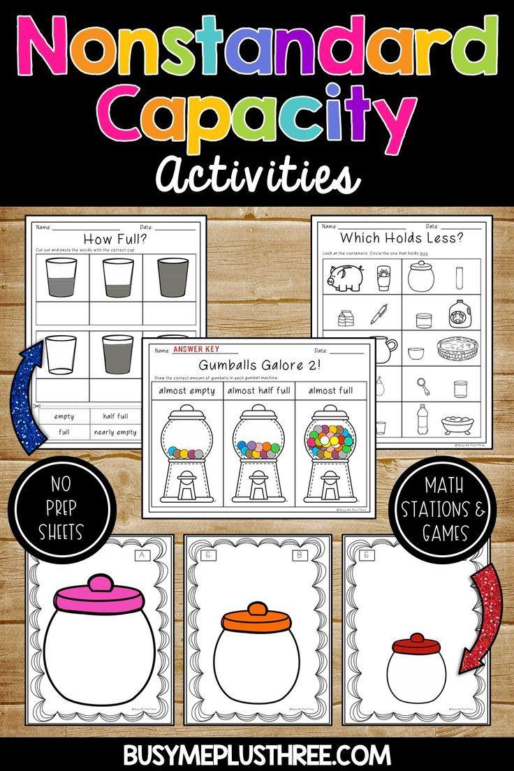 Nonstandard Capacity Unit For Kindergarten Or 1st Grade Measurement Science Math Measurement Activities Capacity Activities Nonstandard Measurement [ 1104 x 736 Pixel ]