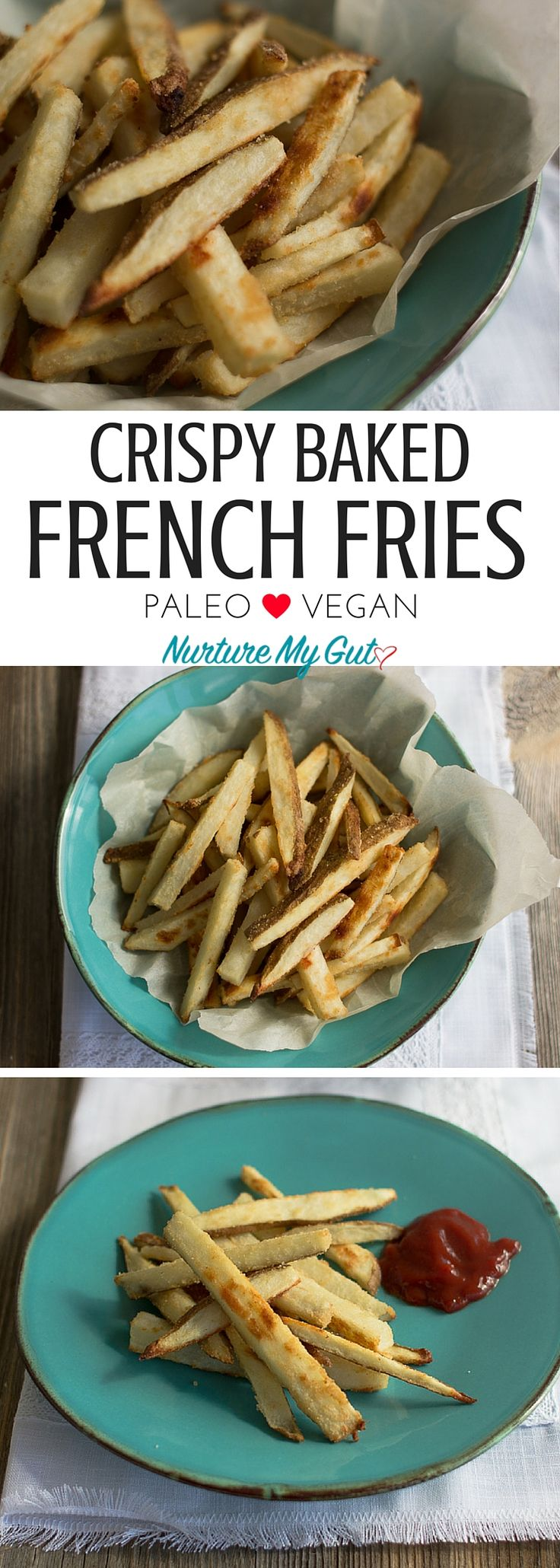 Crispy Baked French Fries. Coated in avocado oil and dusted in coconut flour, onion powder and sea salt. Perfect to satisfy those salty, crispy cravings! Gluten-free, Paleo, Whole30, Vegan.