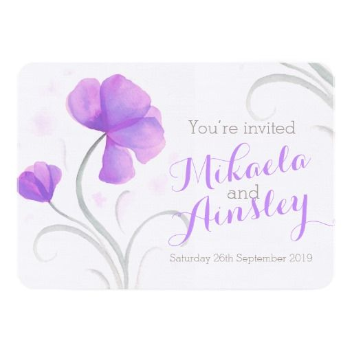 Watercolor wildflower purple wedding invite. Art and design by www.mylittleedenweddings.com