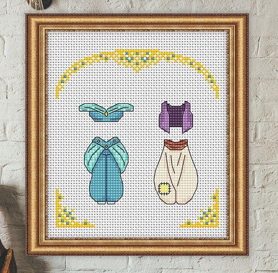 Disney cross stitch pattern Aladdin and Jasmine cross stitch pattern Outfits cross stitch pattern modern cross stitch pattern pdf