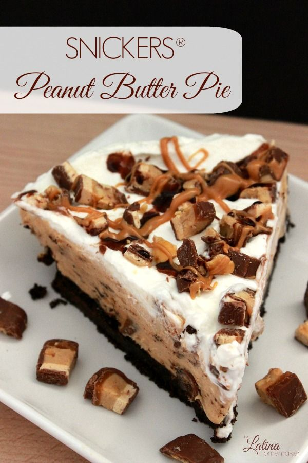 SNICKERS® Peanut Butter Pie. A delicious combination of peanut butter and chocolate that makes this easy peanut butter pie a recipe your family will love.