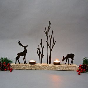 Christmas Reindeer Double Tealight Decoration - christmas home accessories
