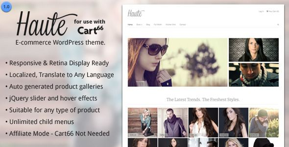 Haute - Ecommerce WordPress Theme for Cart66 - prowordpress.org