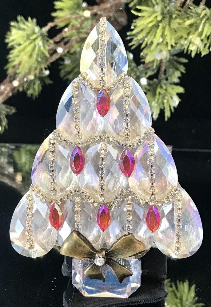 Pear Shape Glass Vintage Rhinestone Christmas Tree Pin Brooch Czech Glass LaHeir   eBay