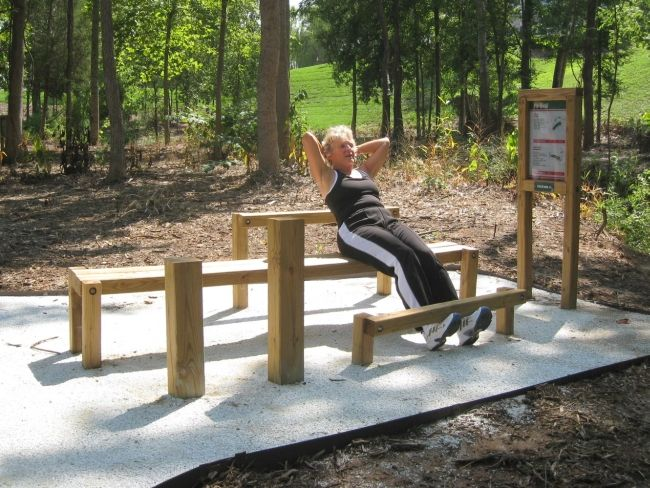 Fitness trail stretching station for A p furniture trail