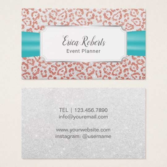 Event Planning Rose Gold Leopard Turquoise Ribbon Business Card