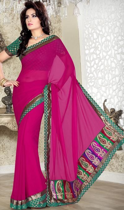 Pink Embroidered Chiffon Simple Saree 24150