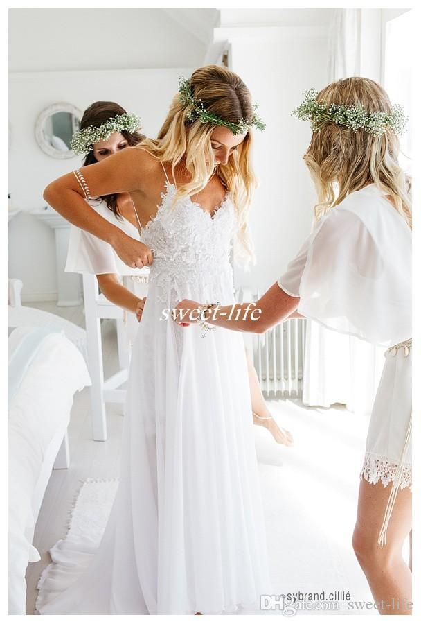 Sexy White 2017 Spaghetti Straps Chiffon Beach Wedding Dresses Hot Lovely Lace Bodice Summer Cheaper Boho Bridal Gowns Hi-Lo Backless Custom Wedding Dresses Beach Bridal Gowns Online with $135.0/Piece on Sweet-life's Store | DHgate.com