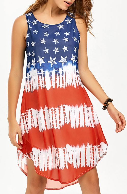 American Flag Print Chiffon Tank Dress