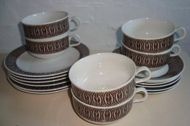 "RÖRSTRAND ""Ceylon"" 1950-60s. Coffee cups/kaffekopper. #Rorstrand #Ceylon #Swedish #design #retro #dinnerware #coffee #cups #kaffekopper #svensk. From www.TRENDYenser.com."