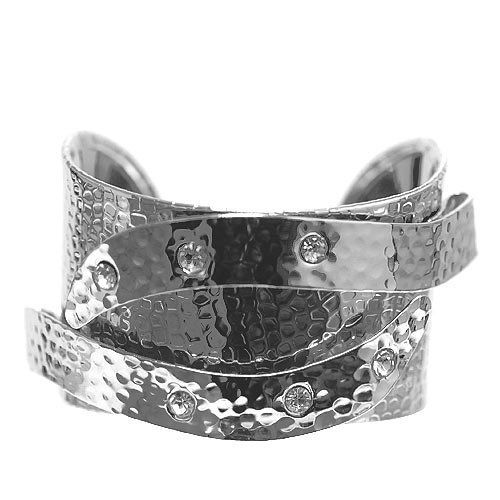 """Fashion Metal Cuff; 1.5"""" L; Hammered Silver Metal; Clear Rhinestones; Eileen's Collection. $19.99. Save 50% Off!"""