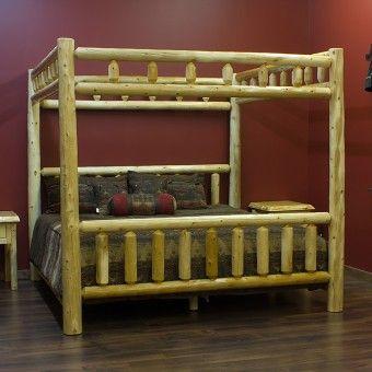 Cedar Log Canopy Bed Rustic Log Bedroom Furniture