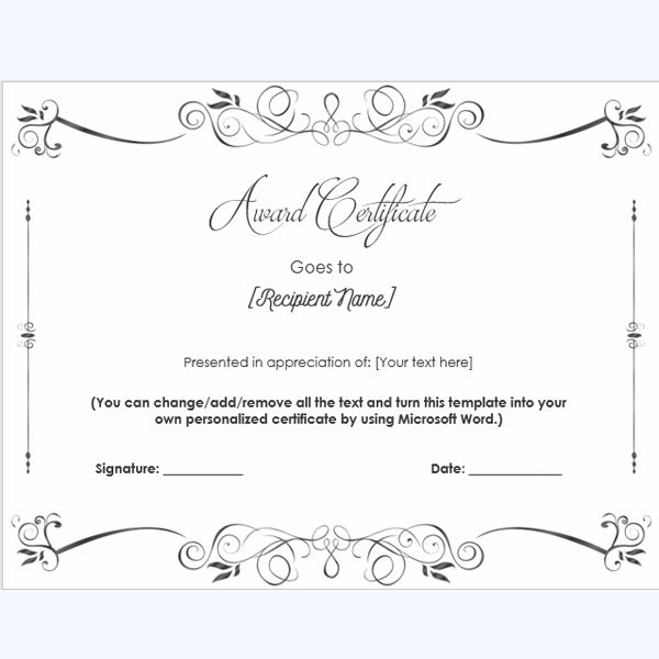 Word Award Certificate Template #schoolaward #teacheraward #printableaward  Microsoft Word Award Certificate Template