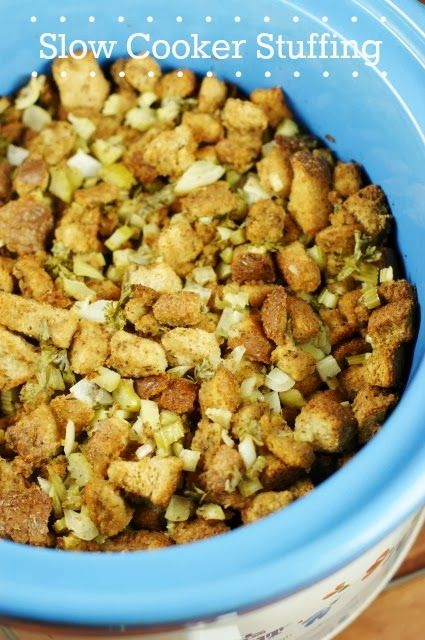 Slow Cooker Stuffing {or Dressing} ... wait, stuffing in the slow cooker??  You bet!    www.thekitchenismyplayground.com