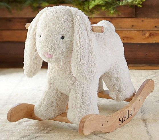 Every little one needs a rocker! This one is plush and oh so sweet! Sherpa Bunny Plush Rocker | Pottery Barn Kids #babygirl #carouseldesigns