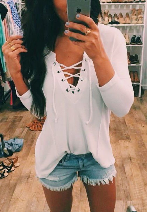#summer #fashion / white + denim