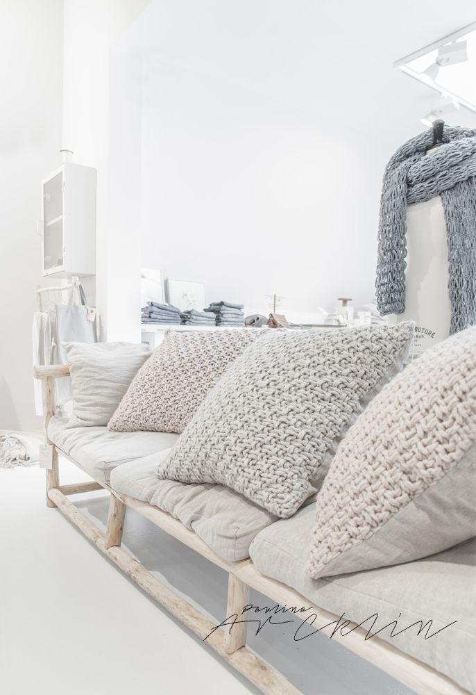 Large knit cushions