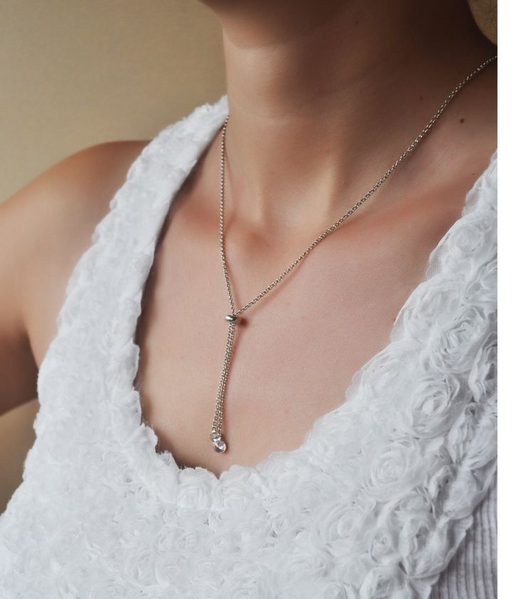 Silver chain necklace with zircon chrystal glass by defneodemis on Etsy