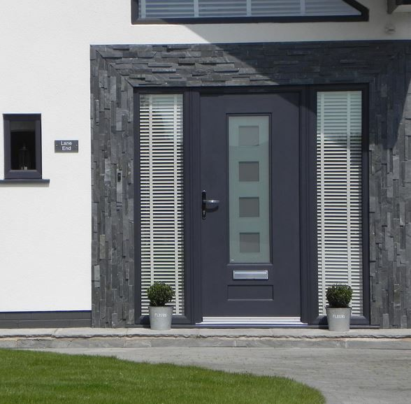 This cool and contemporary Vogue Rockdoor is finished off with Cube design glass #Rockdoor #Grey #Antracite #HomeImprovements