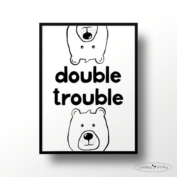 Kids poster Double trouble-Scandi by LullabySTORY on Etsy