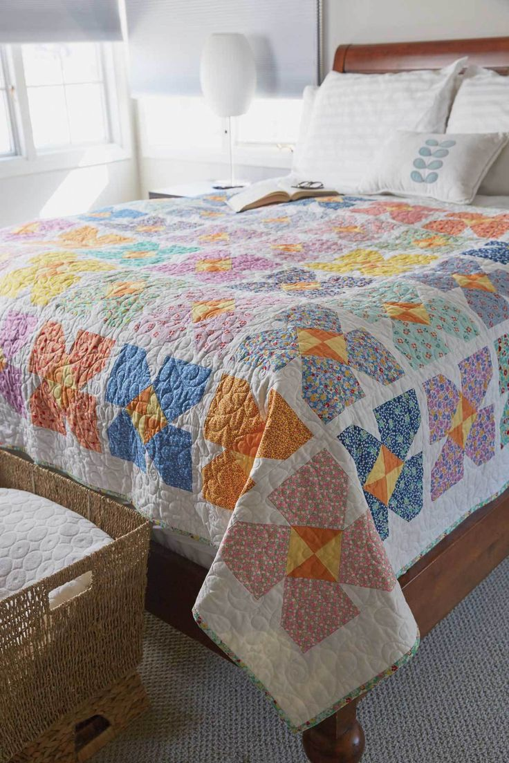Patchwork bed sheets patterns - 1930s Bouquet Quilt