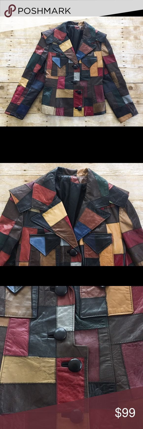 "Vintage Ivan Scott Patchwork Leather Jacket Awesome vintage Ivan Scott jacket.  100% leather patchwork.  Button front.  Fully line.  Size 14 or large.    Underarm to underarm 20"" Sleeve 23"" Length 23"" Waist 17"" Ivan Scott Jackets & Coats"