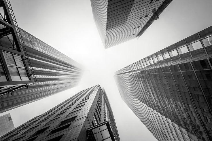 A foggy day in the Financial District in Toronto. #Toronto #Skyscraper #Architecture #Black_and_white