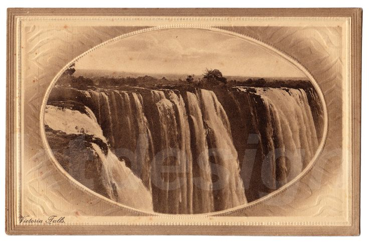 Victoria Falls, South Africa. Vintage photo postcard with textured finish.