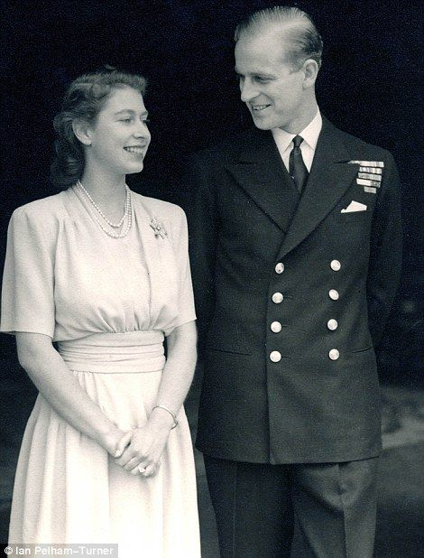The Queen in South Africa in 1947, left, and after announcing her engagement to Prince Philip in the same year