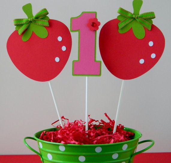 3 Berry Sweet Strawberry Birthday Party - Centerpiece Sticks on Etsy, $10.00