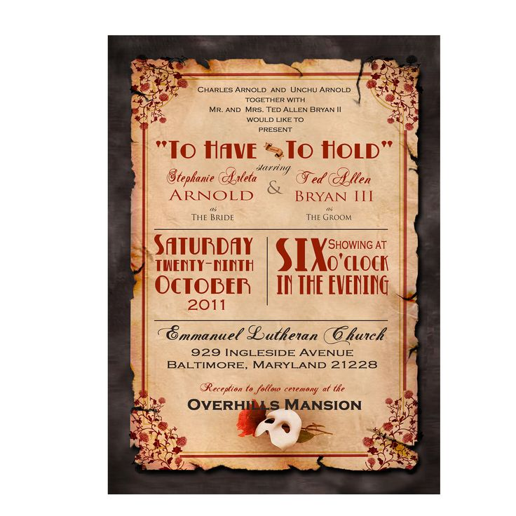 Phantom Of The Opera Wedding Invitationthis Is Coolest Thing Ever A Themed Reception Could Be Masquerade