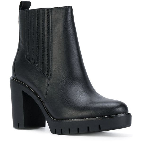 Tommy Hilfiger heeled Chelsea boots (€215) ❤ liked on Polyvore featuring shoes, boots, ankle booties, black leather ankle booties, chunky booties, chunky black booties, chelsea boots and black booties