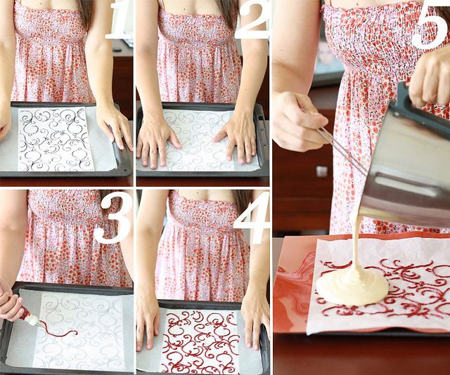 Paso a paso bizcocho decorado by SandeeA Cocina, via Flickr    how to decorate a cake from the inside? idk its in spanish, but i'm going to try it