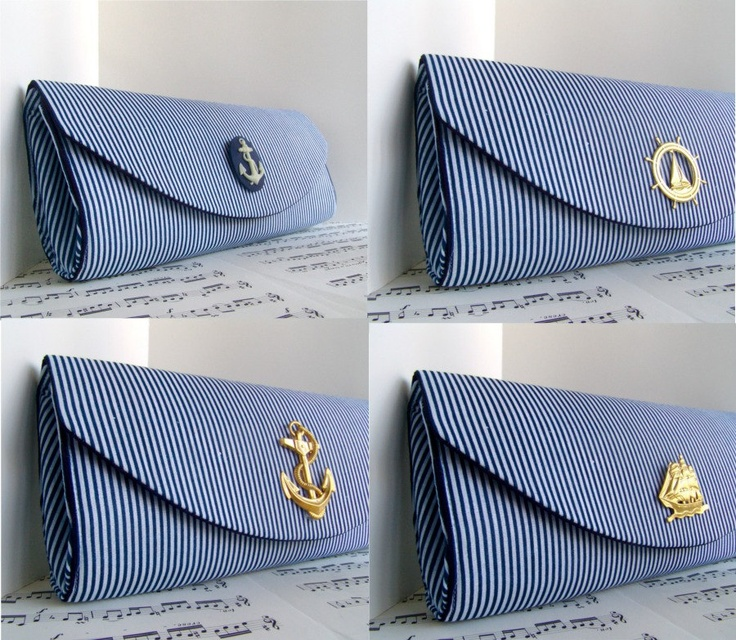 Nautical navy blue clutch purse. Spring fashion. Striped clutch bag. Made to order. $35.00, via Etsy.
