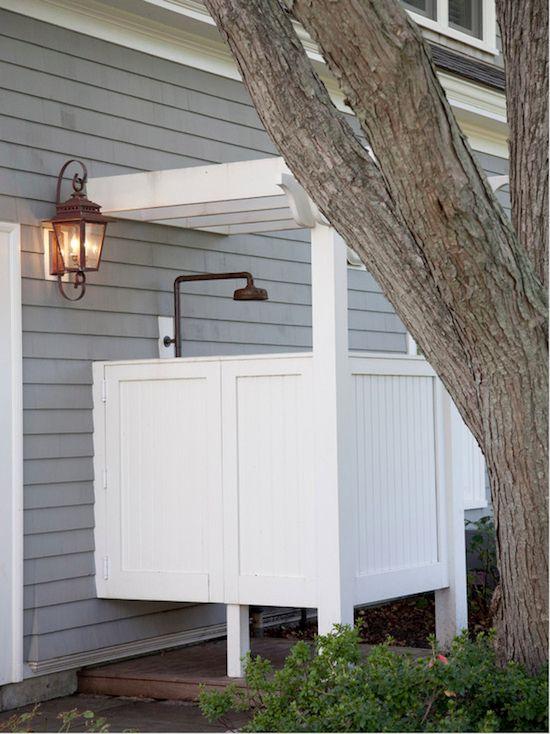 outside shower ideas, clapboard siding, outdoor lantern, pergola