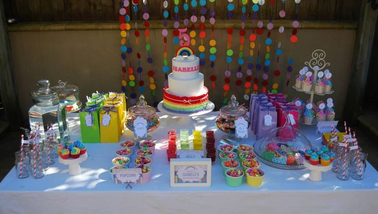 This Rainbow Party was submitted by Zoi from De-Vour Cakes. She created it with love (and a lot of time and effort!) for her daughter's 5th birthday, baking the cakes and biscuits as well as doing her own theming and decorating. #rainbowparty #birthdayparty #firstbirthday #cake #rainbow