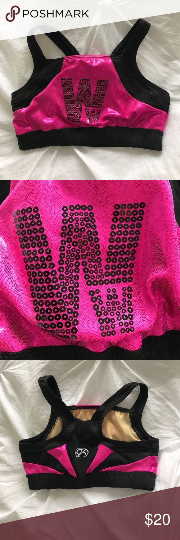 Gk Elite Woodward sports bra Pink and black Woodward cheerleading camp sports bra- sequins- size adult petite which is basically just a xs Intimates & Sleepwear Bras
