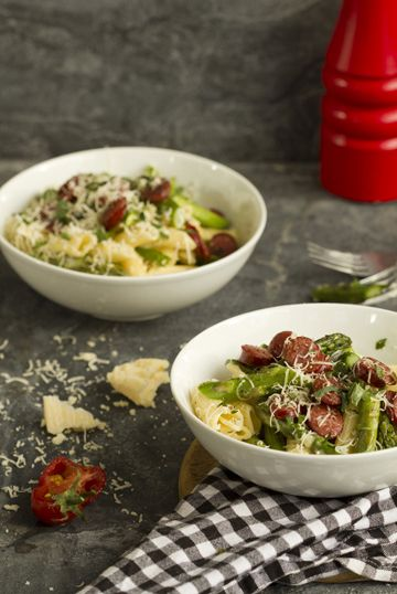 Two yummy asparagus recipes: sausage and asparagus carbonara, and asparagus frittata.