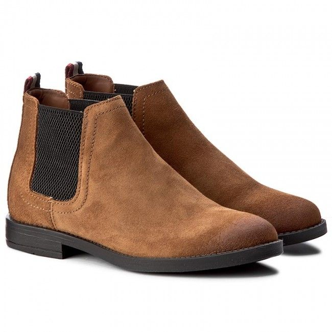 Kotníková obuv s elastickým prvkem TOMMY HILFIGER - DENIM Getty 1B FW0FW01367 Winter Cognac 906