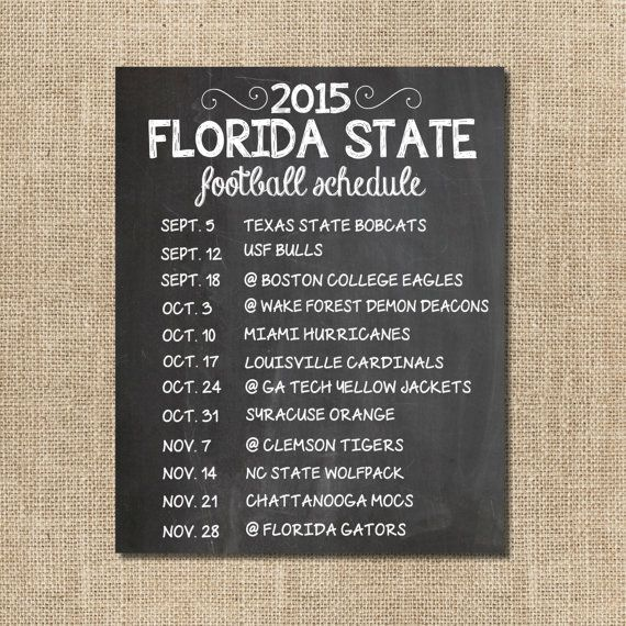 Florida State Seminoles Football Schedule Poster by SBWDesignStudio on Etsy