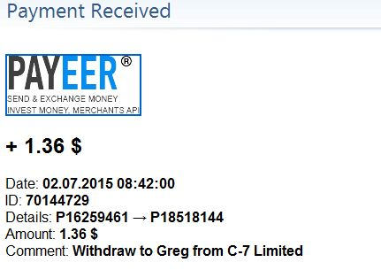 Received payments on 02/07/2015