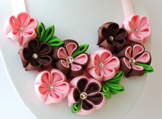 Flower+bib+necklace++Kanzashi+Brown+Pink+Green+by+PetalGirly,+$30.00