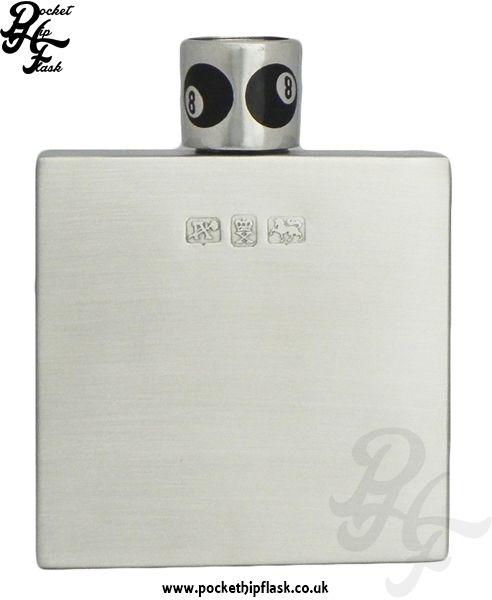 Q-Bic Brushed Pewter Hip Flask with 8 Ball Cap