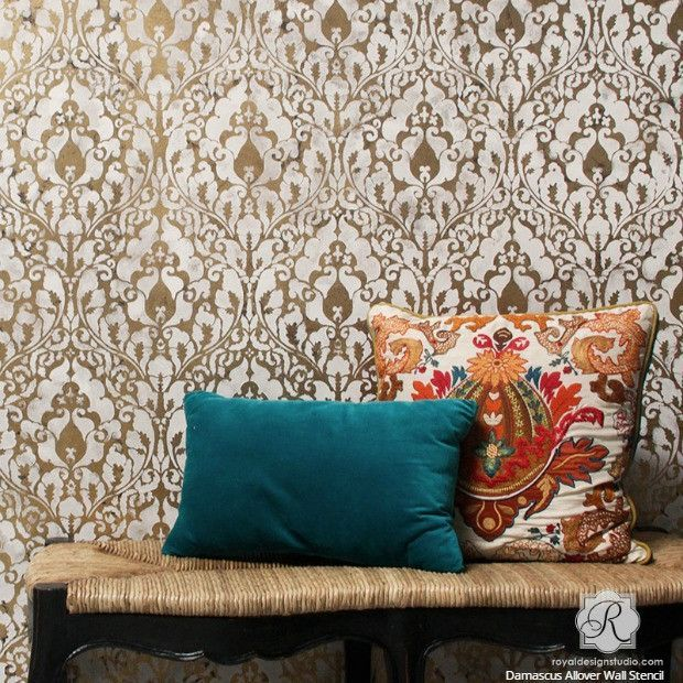 How to Stencil a Gold Leaf Damask Wallpaper Look for Boho Chic DIY Decorating - VIDEO Tutorial - Royal Design Studio Wall Stencils #DIYHomeDecorVideos