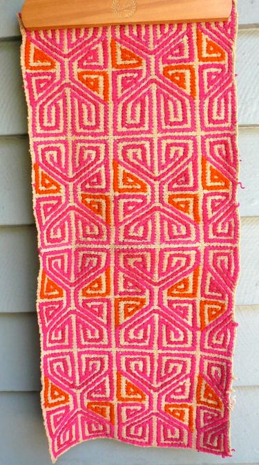 vintage mexican textile // pattern, colour, colours, orange, pink