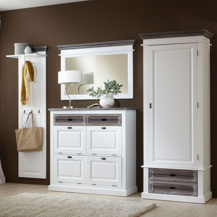 garderobenset in wei grau garderobenmbel dielenmbel landhausstil garderobe