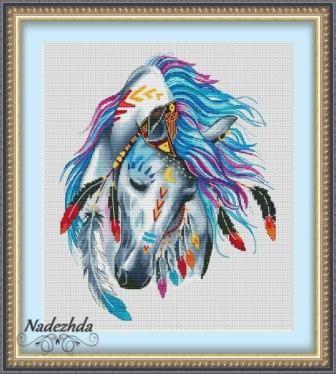 Индейская лошадка   Авторские схемы дизайнеров - вышивка крестом