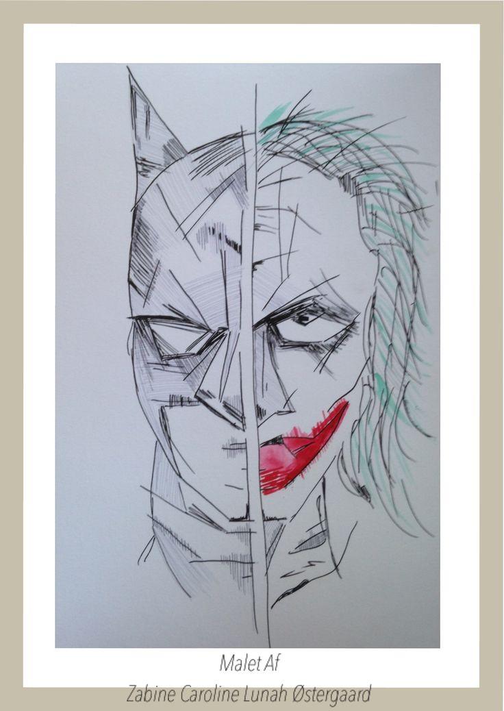 Batman og Jokeren  Malet på 250gr papir  Med en kombi af akryl og akvarel  Art by Zabine Caroline Lunah Østergaard / DIN PAUSE  https://m.facebook.com/DINPAUSE/ Kontakt : dinpause.nu@live.dk
