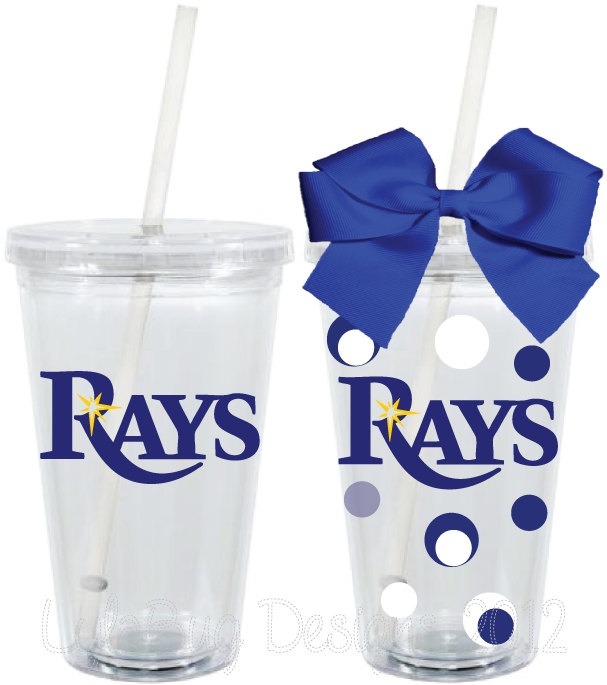 How cute! Tampa Bay Rays Fan Inspired Personalized 16oz Acrylic Tumbler. $15.00, via Etsy.