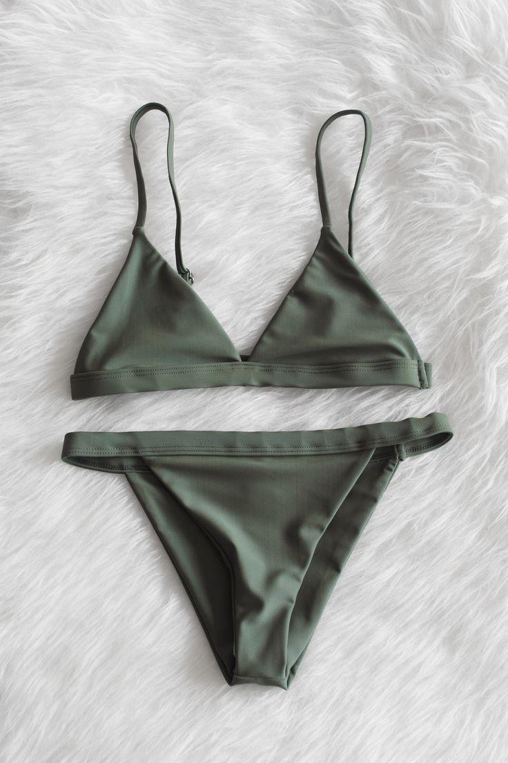 Olive Minimalist Bikini Set (originally pinned by @kristenshawn)